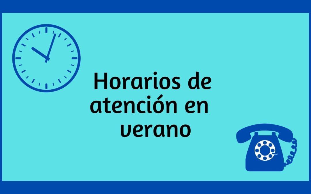 Horarios y modos de atención en agosto