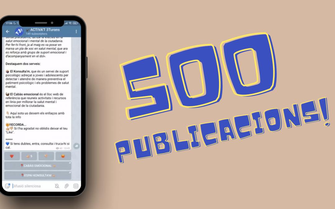 Canal ACTIVA'T3Turons: 500 publicacions